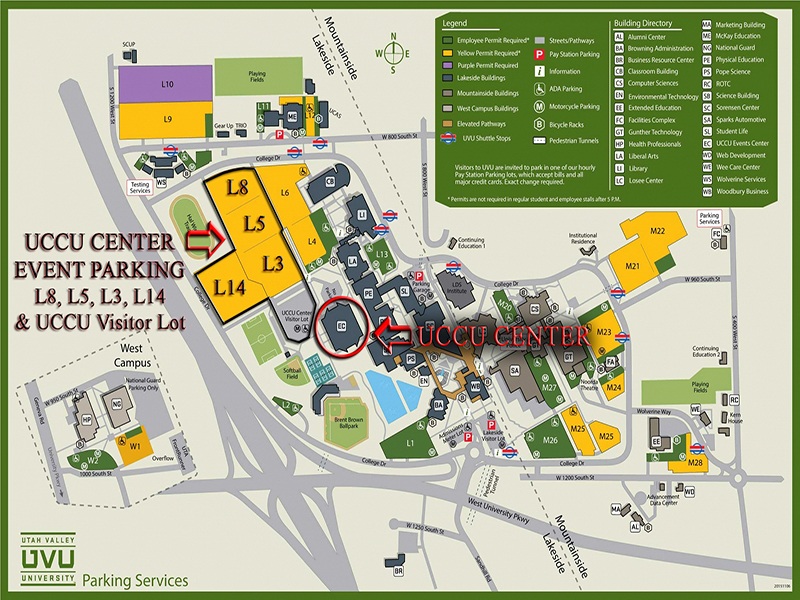 map of uvu campus 2016 Uvu Campus Map Uccu Center Event Parking L8 L5 L3 L14 And map of uvu campus